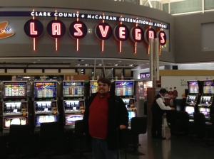 Arrival in Vegas.  Yes, there are slot machines at the airport.