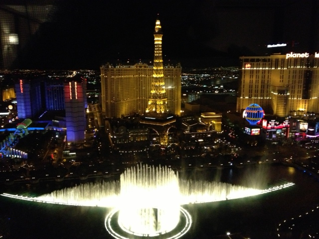 The Bellagio Fountains as seen from our Penthouse Suite.  What a view!!©Jean Janssen