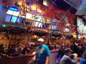 These booths at the Margaritaville on the Strip were cleverly made to look like fishing boats.©Jean Janssen
