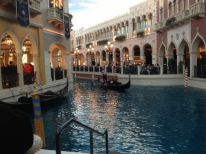 A singing Gondolier drove his passengers along the Grand Canal in the Venetian in Las Vegas.©Jean Janssen