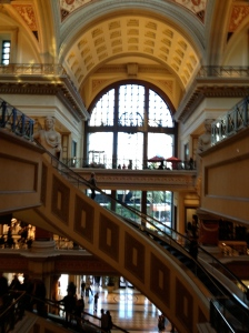 The curving escalator and three story statutes at the Forum Shops at Caesar's Palace Las Vegas.©Jean Janssen