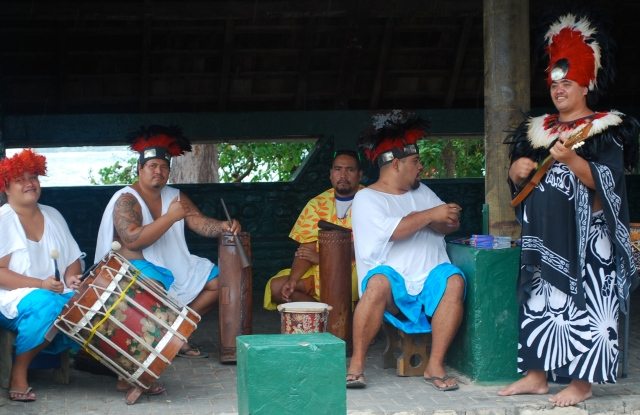In Moorea, we were greeted at the pier by musicians in native dress.©Jean Janssen