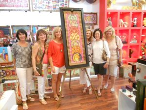 The girls go shopping...Janie's big find with (from left) Jane, Margaret, Janie, Marne, Lori, and Natasha