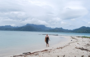 After my swim, on the motu off Raiatea, Society Islands, French Polynesia.