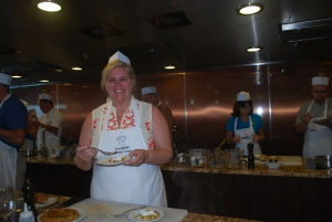 Chef Natasha.  Chef Annie did have to remind us at times that this was a cooking and not eating class.  Aboard the Oceania Marina in the South Pacific