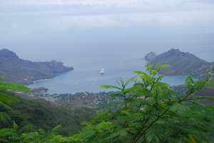Oceania's Marina was anchored in the lagoon of Nuku Hiva formed by a collapsed volcanic crater.©Jean Janssen