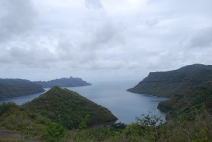 One of the bays of Nuku Hiva, Marquesas, French Polynesia.  Think Survivor.©Jean Janssen
