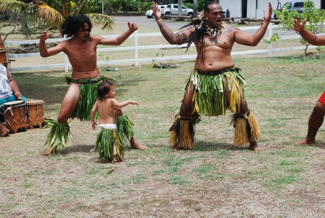 Everyone wants to get into the act.  War dances on Nuku Hiva, Marquesas, French Polynesia.©Jean Janssen