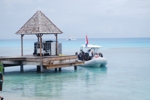 A dive boat ready to head out from the shore of Rangiroa, Tuamotu Islands, French Polynesia.©Jean Janssen