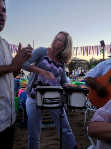 Marne joined the mariachis for a drum solo.  She put her all into it. ©Jean Janssen