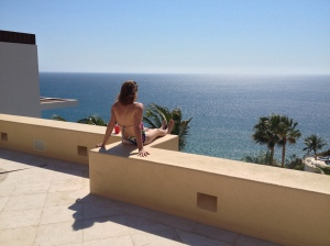 Our trip leader, Margaret Henrikson, could be the brochure girl for the Villa Gran Vista, our retreat in Pedregal, Cabo San Lucas, Baja, Mexico ©Jean Janssen
