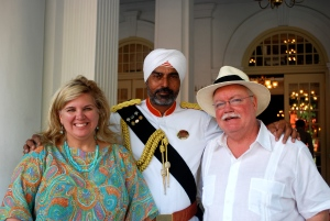 Boris and I with the Indian doorman at the Raffles Hotel in Singapore.
