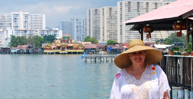 Natasha on the jetty in Penang, Malaysia