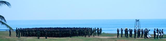 Military exercises along Galle Face Green, Colombo, Sri Lanka. ©Jean Janssen