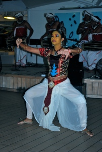 Female member of the Sri Lankan dance troupe who performed on board. ©Jean Janssen