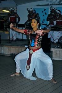 Female member of the Sri Lankan dance troupe who performed on board. ©Jean Janssen