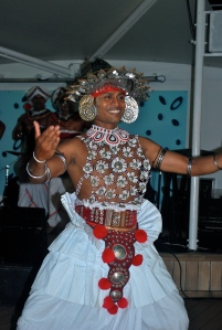 Sri Lankan dancers performed for us on the pool deck of the Azamara Journey. ©Jean Janssen