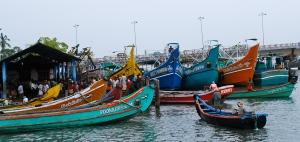 Colorful fishing boats, Kochi (Cochin), India. ©Jean Janssen