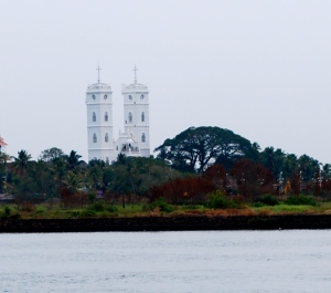 A Catholic Basilica seen from our tourist boat in the Kochi Harbor. ©Jean Janssen