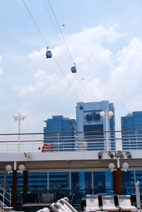 The cable car when right over our ship and passed through a building mid-route. ©Jean Janssen