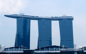 The Marina Bay Hotel in Singapore.  Love the ship on top which holds the bar and swimming pool