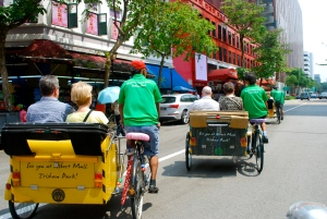 The modern day rickshaw in Singapore is now a trishaw-a bicycle with a single wheel cart attached for passengers.  We went from the Bugi district to Raffles Hotel on a trishaw. ©Jean Janssen
