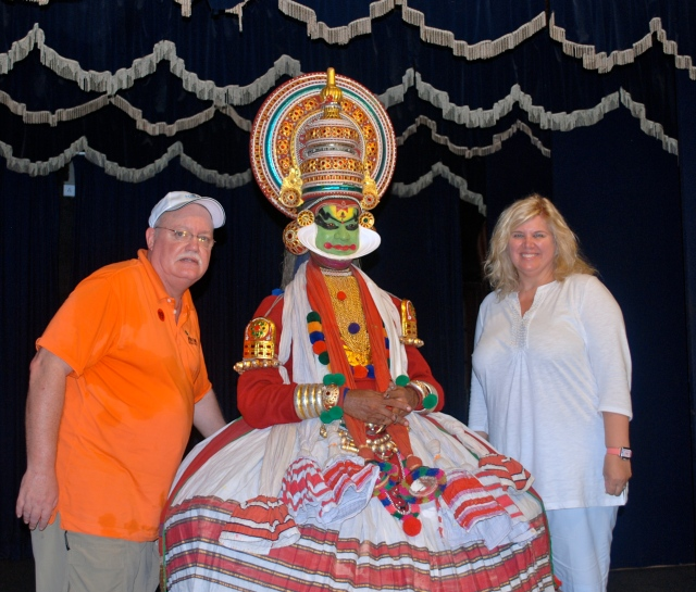 Boris and I with one of the actors after the Kathakali performance.
