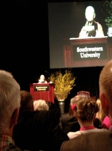 Jane Goodall was the featured speaker at the Shilling Lecture Series, Southwestern University, April 2013