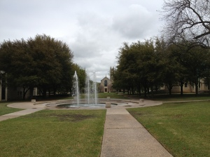 "The campus lawn leading past the fountains to the pedestrian mall (open for traffic while I was a student) and the Lois Perkins Chapel.  The lawn was the site of my college graduation a ""few"" years ago.©Jean Janssen"