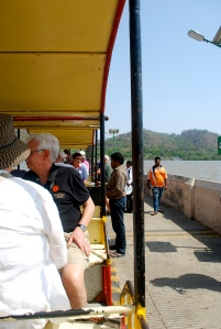Aboard the train for the long ride down the pier to Elephanta Island. ©Jean Janssen