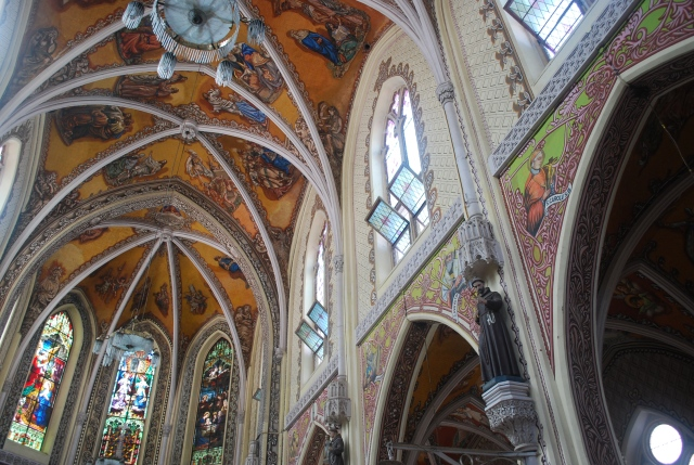 The beautiful painted ceiling, walls and stained glass windows of the Cathedral of the Holy Name in Mumbai, India. ©Jean Janssen