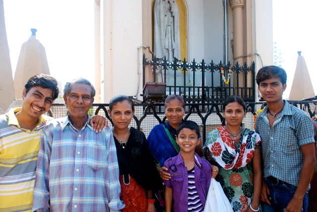 This Indian family asked to take a picture with me. At Mount Mary Church, Bandra, India. ©Jean Janssen