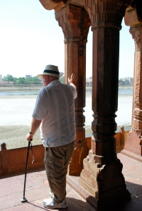 "Boris checks out the water buffalo from the ""Baby Taj"" Agra, India. ©Jean Janssen"