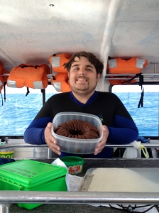 Rocky got a chocolate cake right on the boat in celebration of reaching 100 dives. ©Jean Janssen