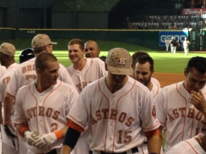 From my first row seat behind the Astros dugout. ©Jean Janssen