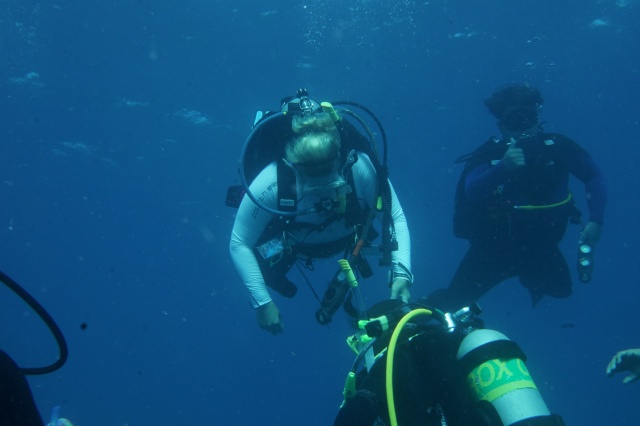 Natasha and Rocky on a safety stop.  All divers pause between 15 and 20 feet for 3 to 5 minutes as a precausion before completing their dive. @Bill Fuqua