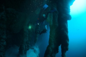 We wove in and out between the stalactites at an approximate depth of 130ft. in the Great Blue Hole, Belize. ©Bill Fuqua