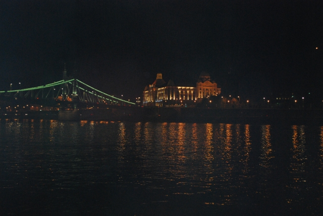 Night view from our Juliet balcony in Budapest. ©Jean Janssen