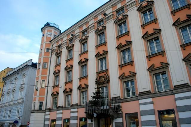 The annexation of Austria into Germany in 1938 was announced from this balcony (where tree is) in Linz, Austria.  Linz was Adolph Hitler's boyhood home. ©Jean Janssen