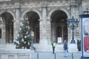 Gingerbread ornament tree in front of the Budapest Opera House