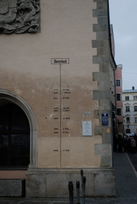 Water level markings on the same clock tower as seen in the previous picture.  The 2013 level is above all those shown here.  Passau, Germany ©Jean Janssen