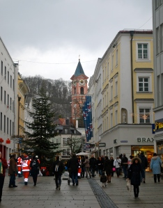 Major shopping area in Passau Germany.  Those in bright red are firemen with rescue dogs collecting support. ©Jean Janssen