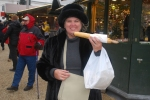 Exploring my German roots with this extra long bratwurst at the Christmas Market in Passau, Germany.
