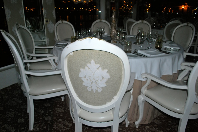 Dining Room decor aboard the River Beatrice.  Emma would love these chairs. ©Jean Janssen