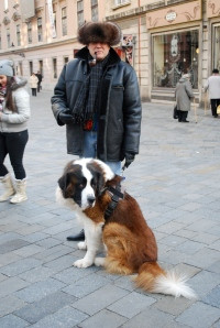A fellow Houstonian (not living in Slovakia) and his Russian breed dog.  These dogs are often used in Russian prisons to control the inmates. ©Jean Janssen