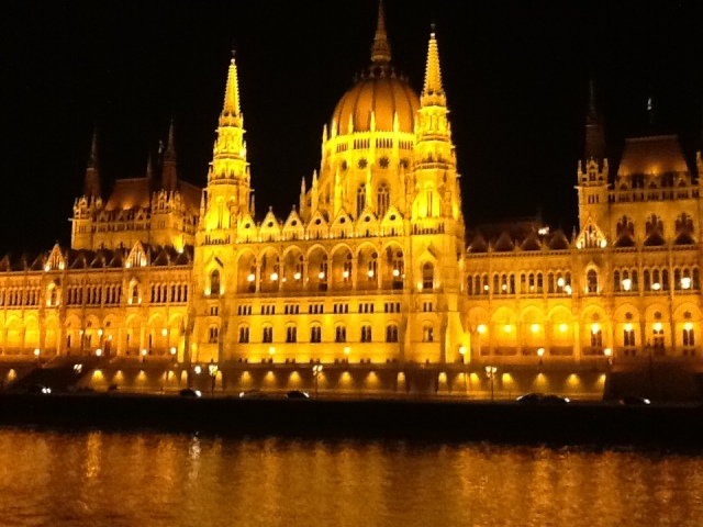 The Parliament Building at night on the Danube, Budapest. ©Jean Janssen
