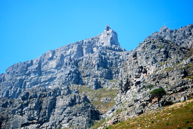 The Summit of Table Mountain with the Cable Car Tunnel Station at the high point.  If you look closely at the photograph, you'll see the two cable cars passing each other. ©Jean Janssen