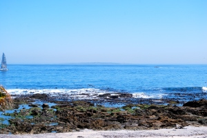 Robben Island in the distance off the coast of Cape Town, South Africa