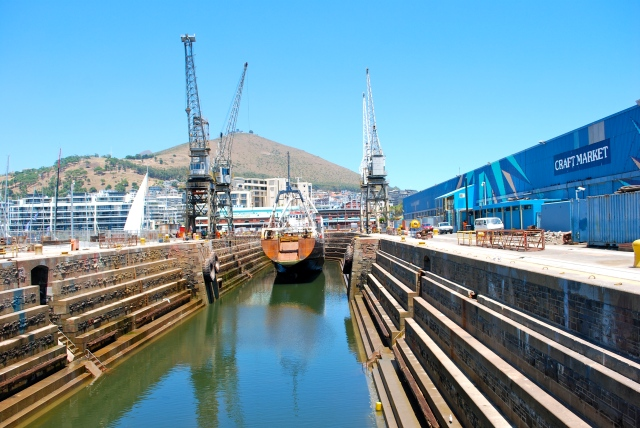 Boat in dry dock next to the Crafts Market, Cape Town, South Africa. ©Jean Janssen
