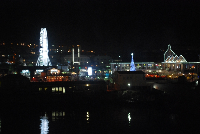 Victoria and Alfred Waterfront at night as seen from our suite balcony.  Cape Town, South Africa. ©Jean Janssen